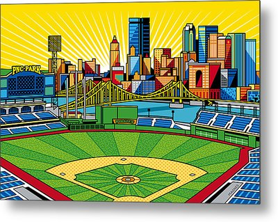 Pnc Park Gold Sky Metal Print by Ron Magnes
