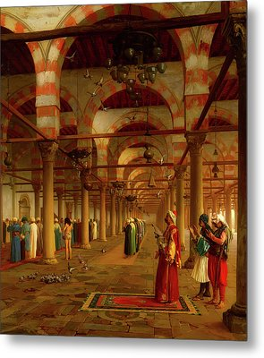 Metal Print featuring the painting Prayer In The Mosque by Jean-Leon Gerome