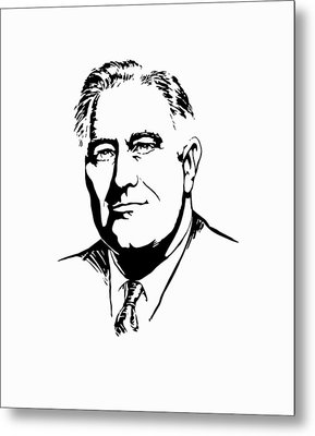 President Franklin Roosevelt Graphic Metal Print by War Is Hell Store