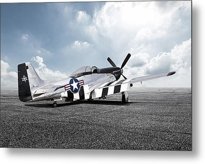 Metal Print featuring the digital art Quick Silver P-51 by Peter Chilelli