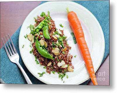 Red Quinoa With Sugar Snap Peas Metal Print