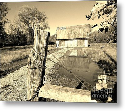 Reflections Of An Old Barn Brown County Indiana Metal Print by Scott D Van Osdol