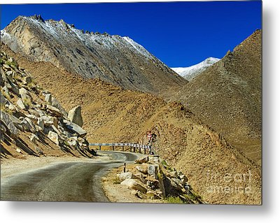 Road Mountains Of Leh Ladakh Jammu And Kashmir India Metal Print by Rudra Narayan  Mitra