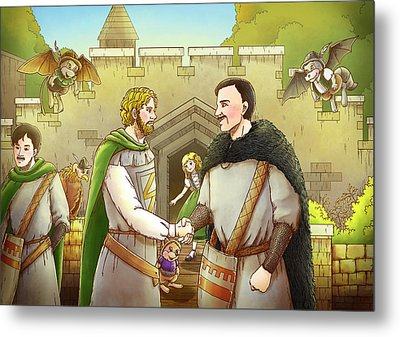 Robin Hood And The Captain Of The Guard Metal Print by Reynold Jay
