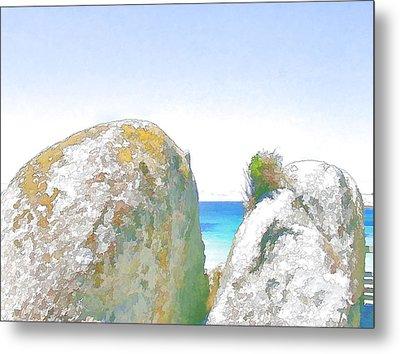 2 Rocks By The Sea Metal Print by Jan Hattingh