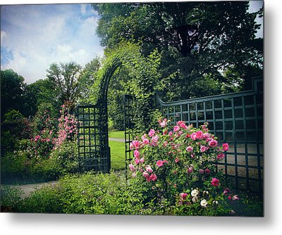 Rose Garden Gate Metal Print by Jessica Jenney