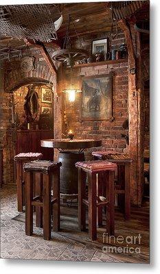 Rustic Restaurant Seating Metal Print by Jaak Nilson
