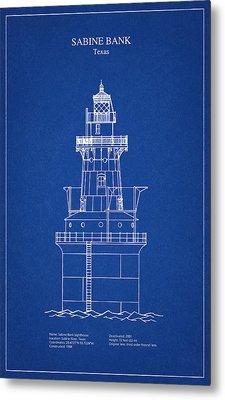Sabine Bank Lighthouse - Texas - Blueprint Drawing Metal Print