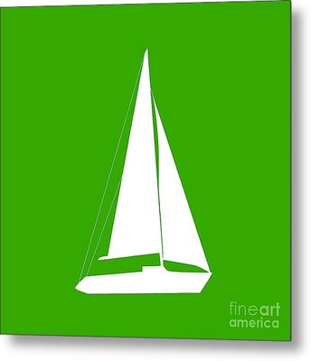 Sailboat In Green And White Metal Print