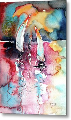 Metal Print featuring the painting Sailboats by Kovacs Anna Brigitta