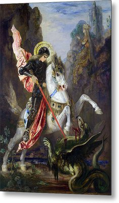 Saint George And The Dragon Metal Print by Gustave Moreau