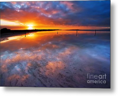 Salt Pan Sunrise Metal Print