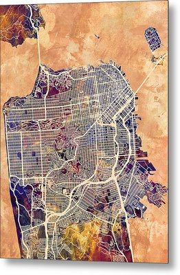 San Francisco City Street Map Metal Print
