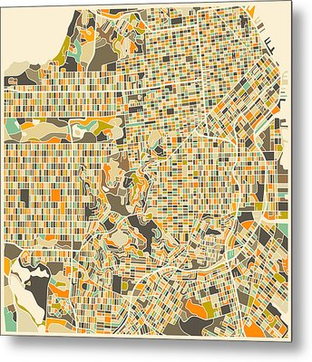San Francisco Map Metal Print by Jazzberry Blue