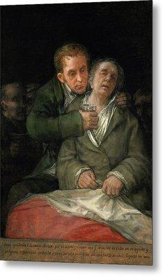Self-portrait With Dr. Arrieta Metal Print by Francisco Goya