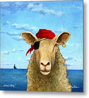 Metal Print featuring the painting Sheep Ahoy by Will Bullas