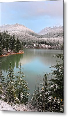 Snowy Green Lake Sunset Whistler B.c Canada Metal Print by Pierre Leclerc Photography