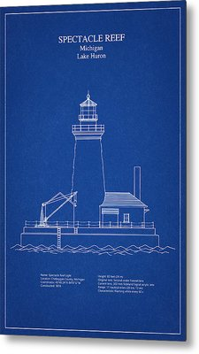 Spectacle Reef Lighthouse - Michigan - Blueprint Drawing Metal Print