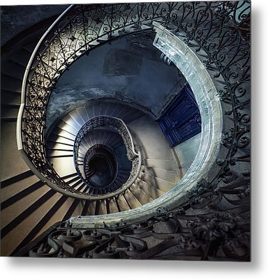 Metal Print featuring the photograph Spiral Staircase With Ornamented Handrail by Jaroslaw Blaminsky