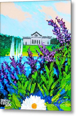 St. Louis Art Museum At Grand Basin With Flowers And Water Fountains Metal Print
