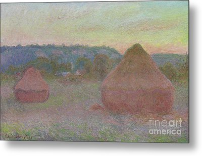 Stacks Of Wheat  End Of Day, Autumn Metal Print by Claude Monet