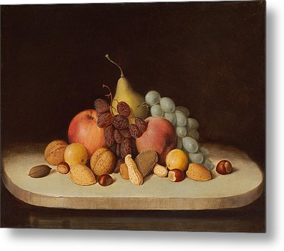 Still Life With Fruit And Nuts Metal Print by Robert Seldon Duncanson