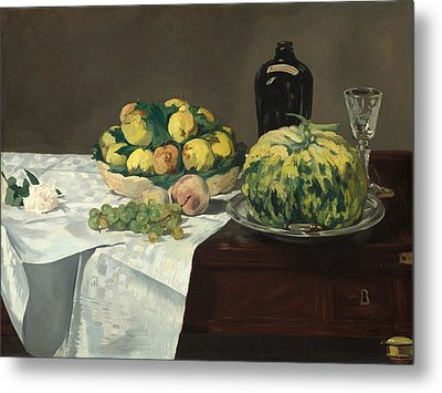 Still Life With Melon And Peaches Metal Print