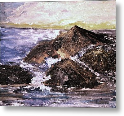 Metal Print featuring the painting Stones In The Ocean by Evelina Popilian