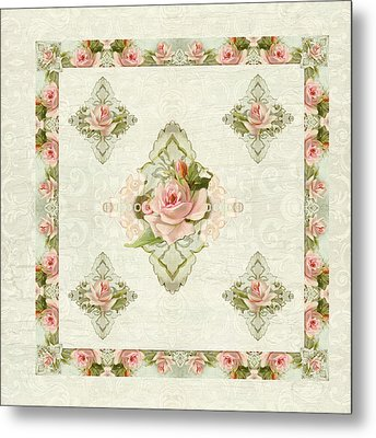 Summer At The Cottage - Vintage Style Damask Roses Metal Print by Audrey Jeanne Roberts