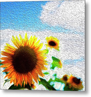 Sunflowers Abstract Metal Print by Les Cunliffe
