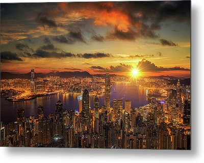 Sunrise Over Victoria Harbor As Viewed Atop Victoria Peak Metal Print by Anek Suwannaphoom