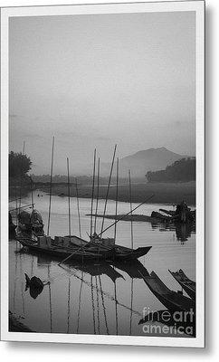 sunset at Mae Khong river Metal Print by Setsiri Silapasuwanchai