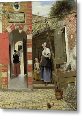 The Courtyard Of A House In Delft Metal Print by Pieter de Hooch