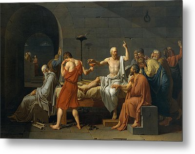 The Death Of Socrates Metal Print by Jacques Louis David