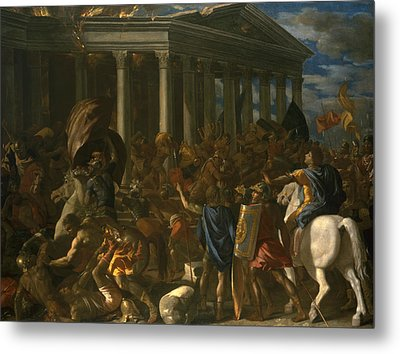The Destruction And Sack Of The Temple Of Jerusalem Metal Print by Nicolas Poussin