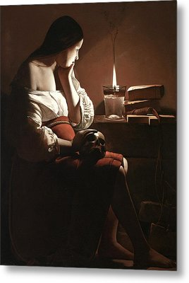 The Magdalen With The Smoking Flame Metal Print by Georges de la Tour
