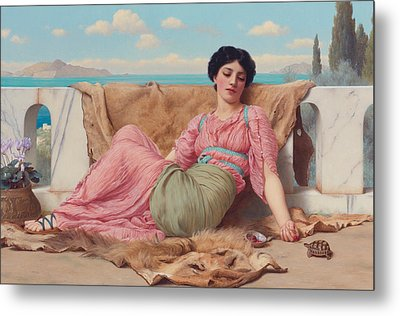 The Quiet Pet Metal Print by John William Godward