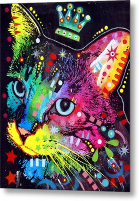 Thinking Cat Crowned Metal Print