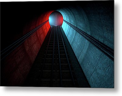 Train Tracks And Tunnel Split Choices Metal Print