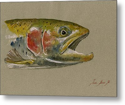 Trout Watercolor Painting Metal Print by Juan  Bosco