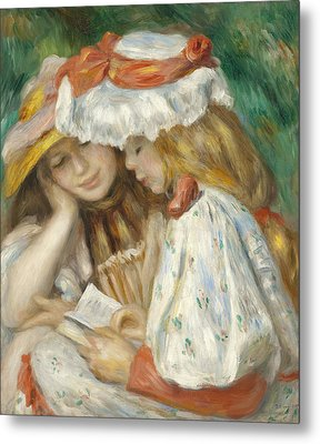 Two Girls Reading Metal Print by Pierre Auguste Renoir