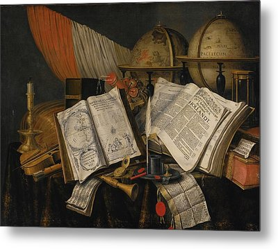 Vanitas Still Life With A Candlestick Metal Print by MotionAge Designs