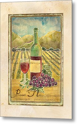 Vineyard Pinot Noir Grapes N Wine - Batik Style Metal Print by Audrey Jeanne Roberts