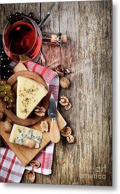 Wine And Cheese Metal Print by Jelena Jovanovic