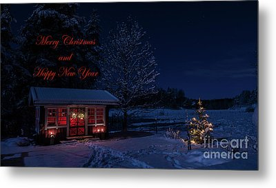 Metal Print featuring the photograph Winter Night Greetings In English by Torbjorn Swenelius