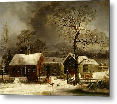 Winter Scene In New Haven, Connecticut Metal Print