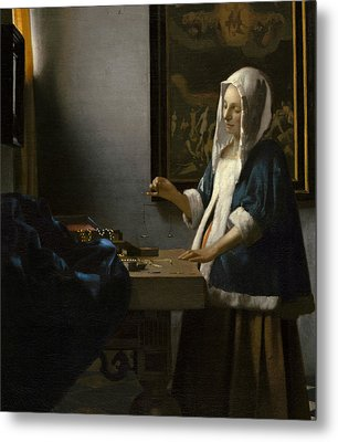 Woman Holding A Balance Metal Print by Jan Vermeer