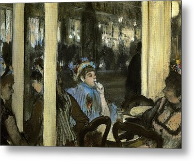 Women On A Cafe Terrace Metal Print by MotionAge Designs