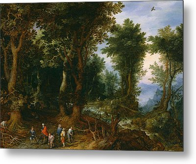 Wooded Landscape With Abraham And Isaac Metal Print by Jan Brueghel the Elder