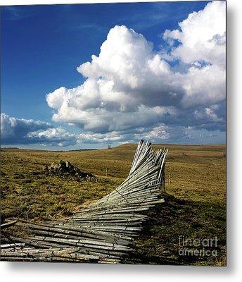 Wooden Posts Metal Print by Bernard Jaubert
